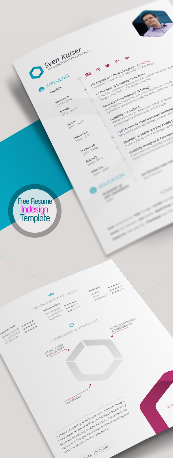 free resume template for indesign vita cv - Resume Templates For Graphic Designers