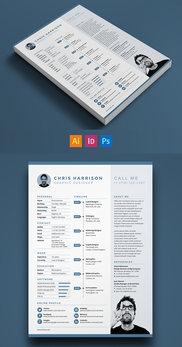 free single page resume template psd - Resume Templates For Graphic Designers