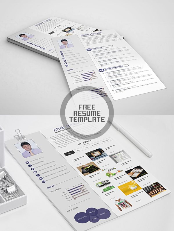 Free Two Page Resume Template PSD