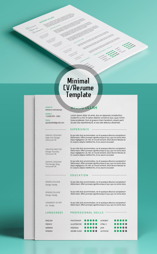minimal resume template - Resume Templates For Graphic Designers