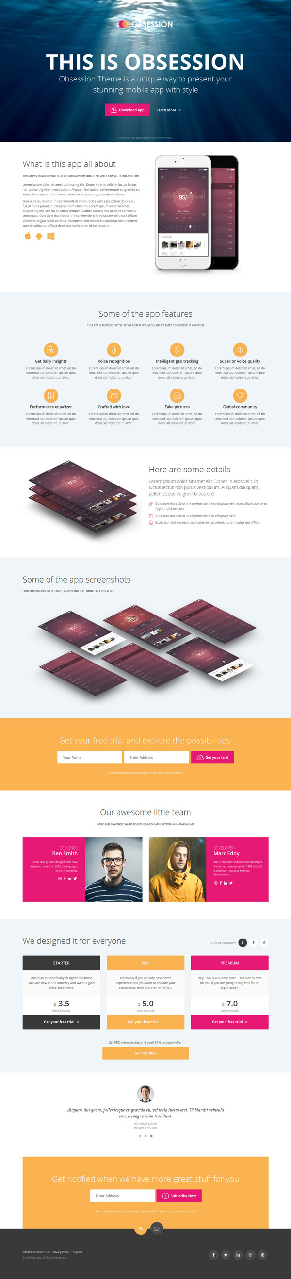 Obsession - HTML5 Bootstrap App Landing Page