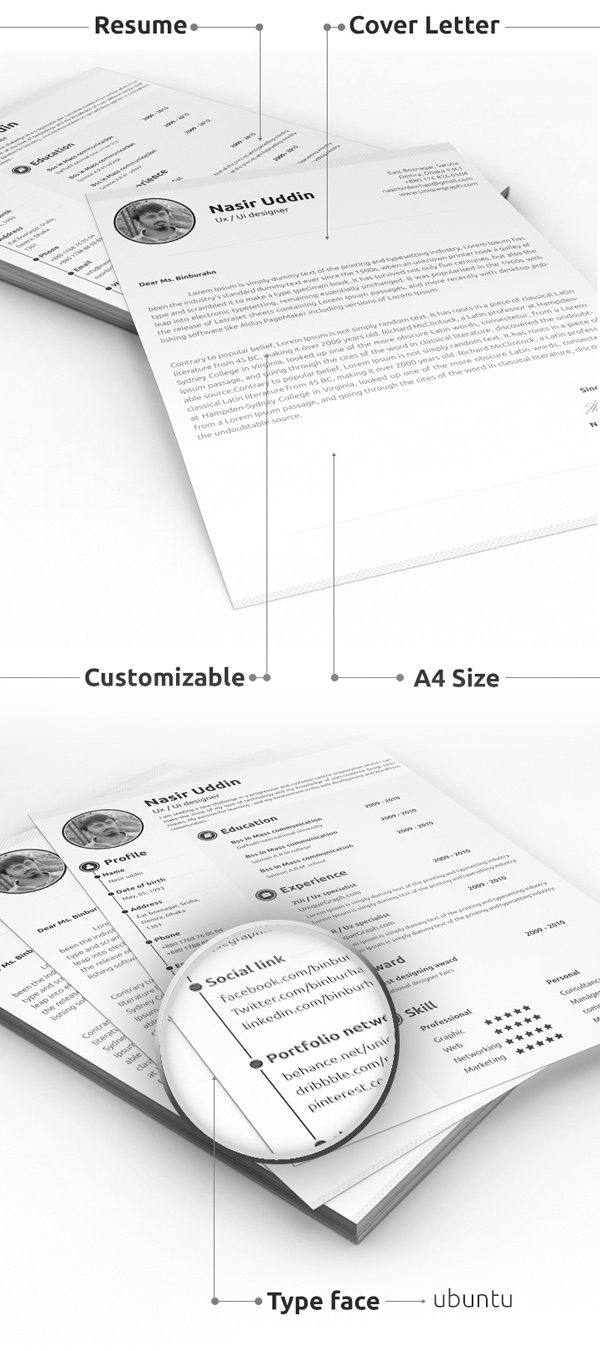 Print Ready Resume & Cover Letter PSD Template