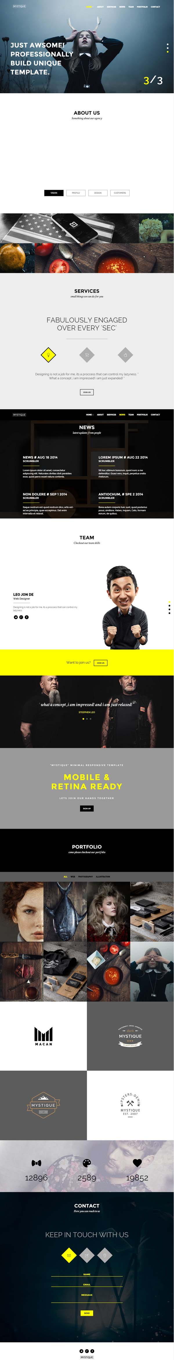 MYSTIQUE - Creative One Page HTML5 Template