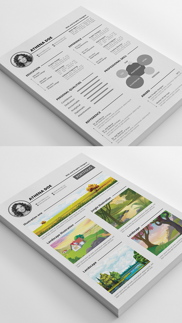 Free Modern Resume PSD Template