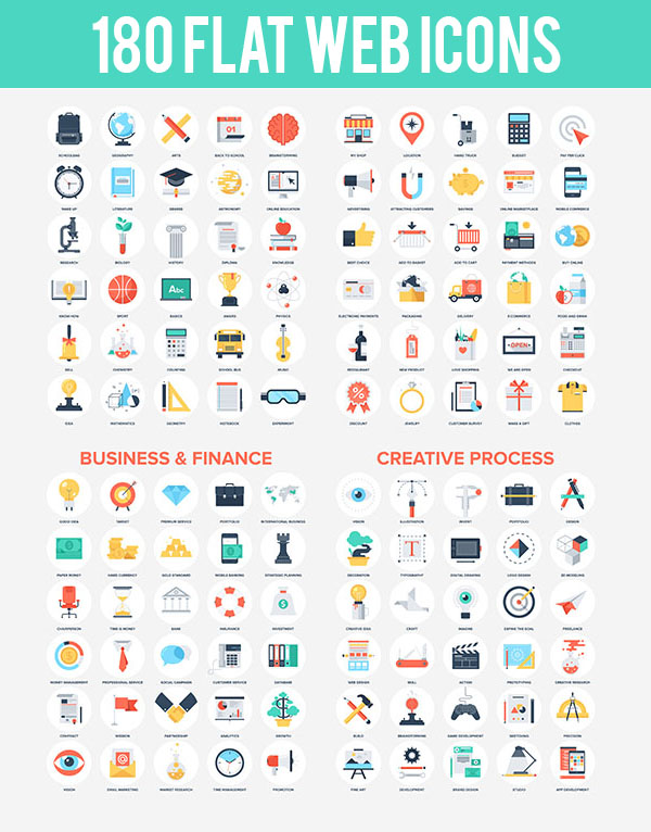 180 Abstract vector set of colorful flat web icons