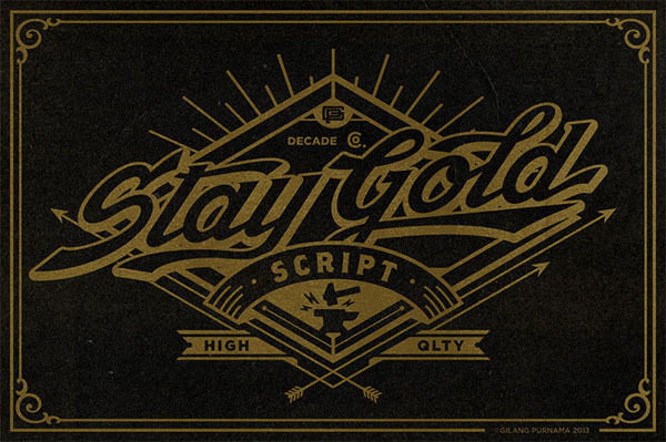 Stay Gold Script is a highly usable, powerful typeface