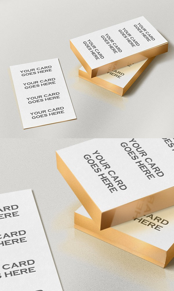 Free Gold Edge Letterpress Business Card Mockup