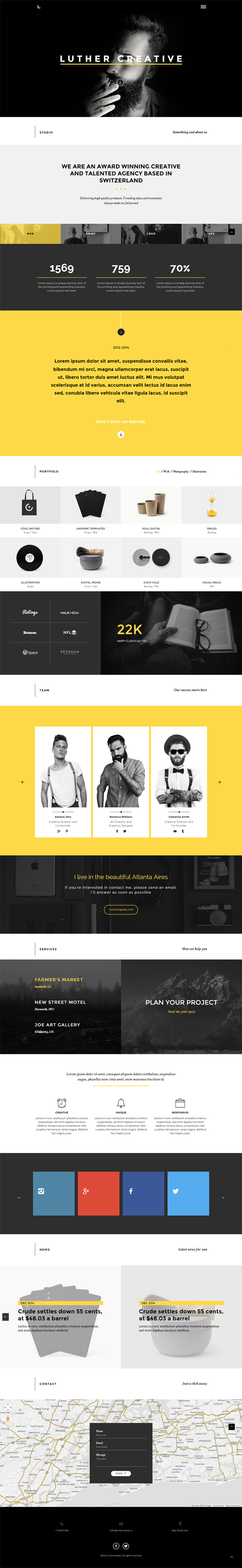 Luther - Unique & Creative One Page HTML5 Template