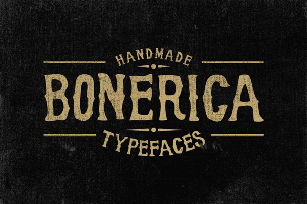 Bonerica typeface is a serif font made by hand