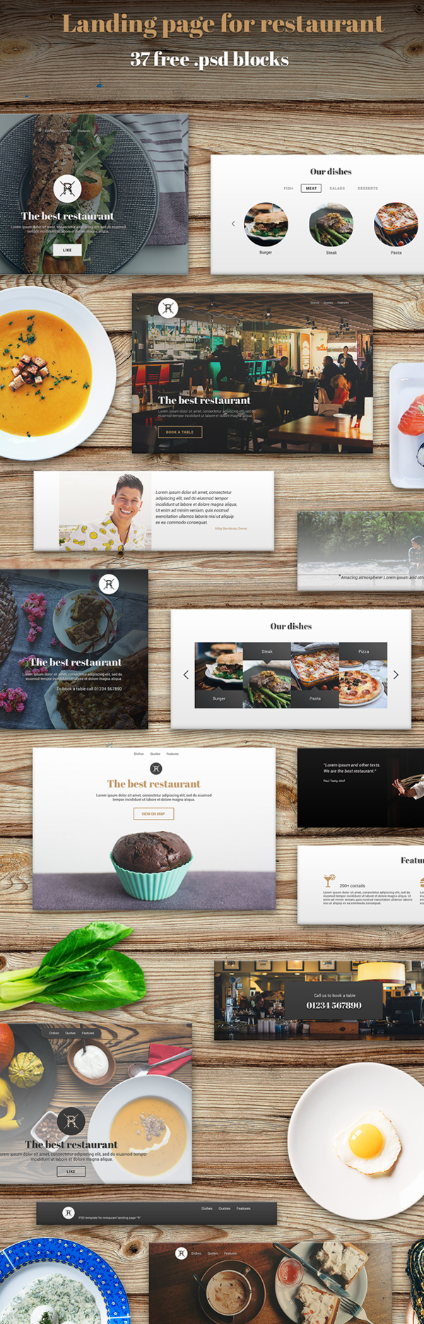 Landing Page for Restaurant - 37 Free PSD Blocks