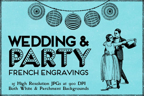 15 Vintage Party, Wedding Engravings