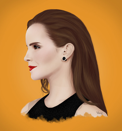Emma Watson Digital Drawing by Kristine Larsen