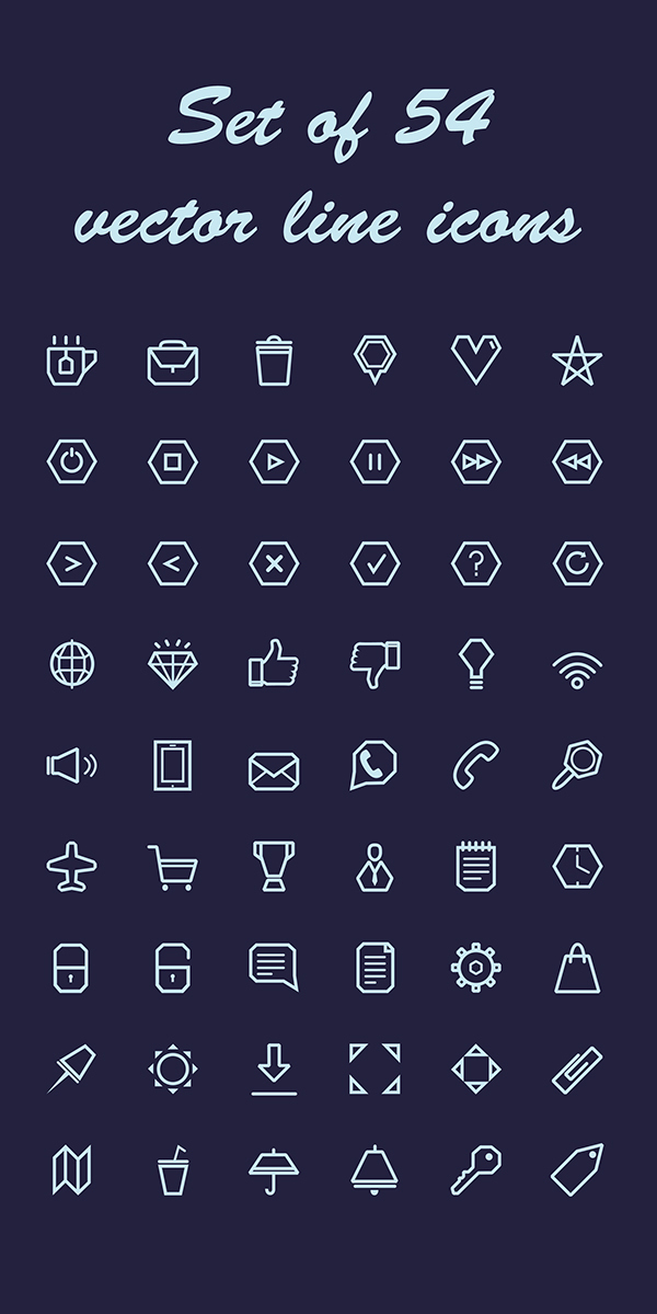 Line Icon Set Free Vector PSD