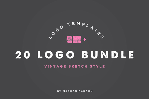 20 x Vintage Logo Templates Bundle