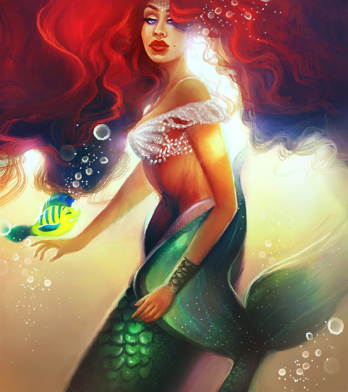 Create an Ariel Inspired Mermaid Painting in Adobe Photoshop