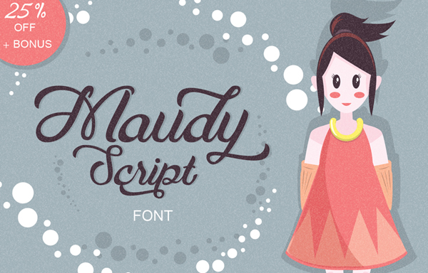 Maudy typeface a beautiful script font