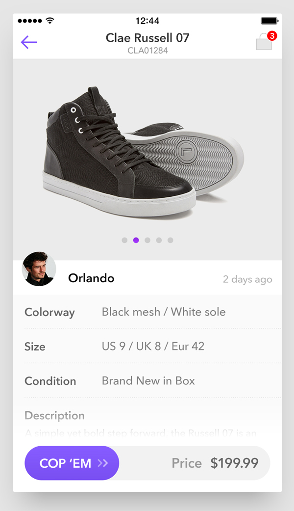 Sneaker product detail UI by Imran Ashraf
