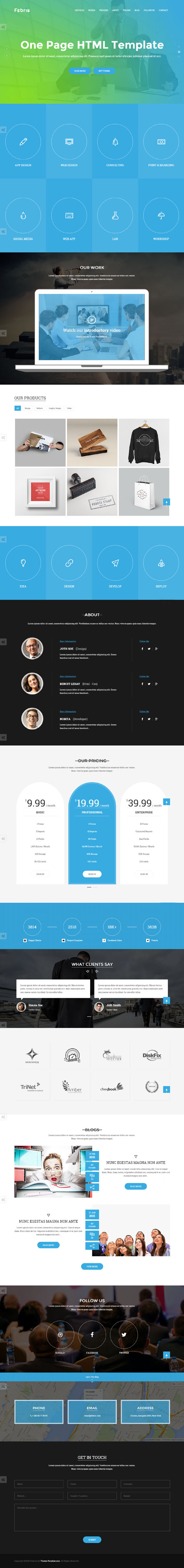 Febris | Porfolio, Corporate One Page HTML Template