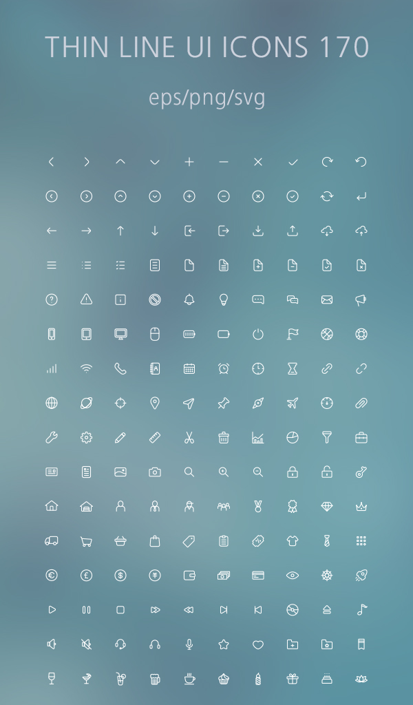 Free Thin Line UI Icons - EPS, PNG and SVG (170 Icons)