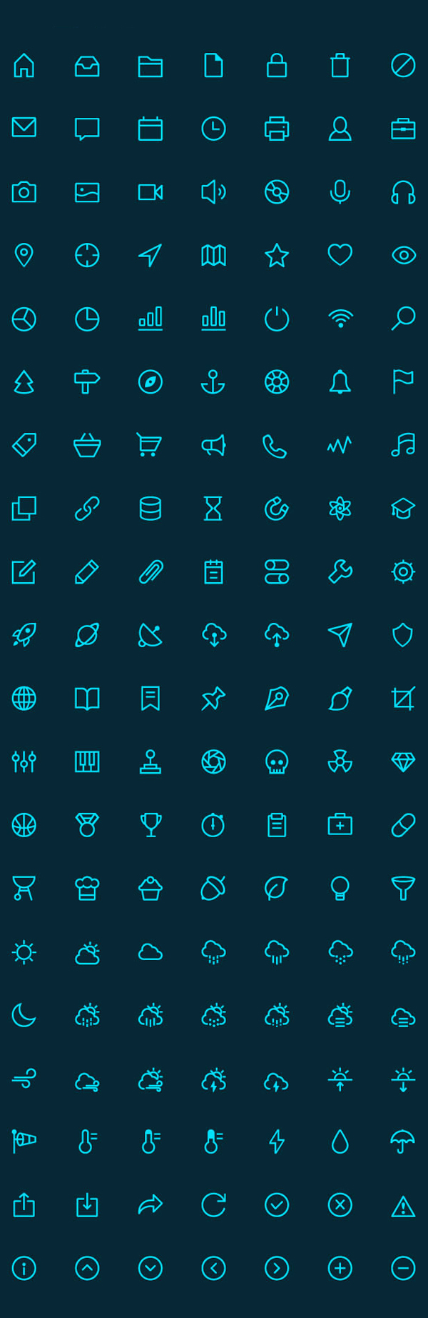 Free Linear Icons Vector Set (140 Icons)