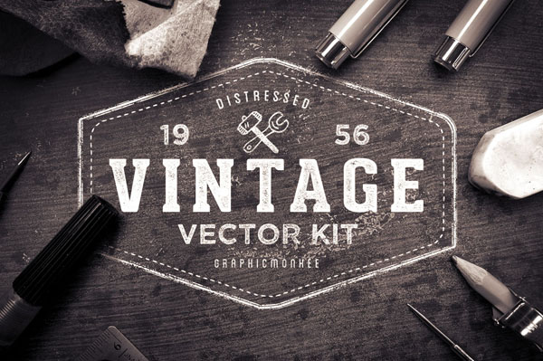 120 vintage badges, logos and labels