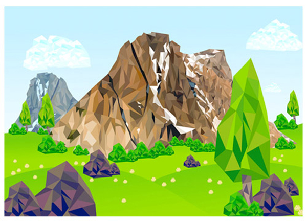 Create Low Poly Mountain with Low Poly Background in Illustrator Tutorial