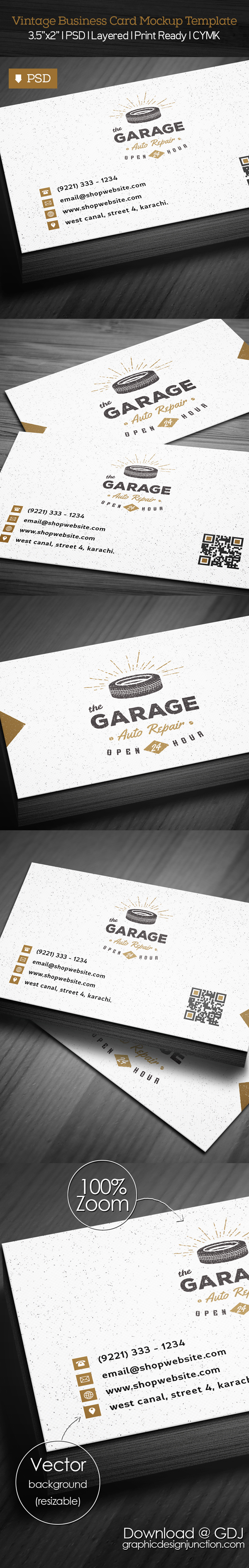 Vintage Business Card PSD Mockup