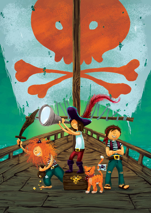 Create a Multi-Character Pirate Illustration for Young Children in Adobe Photoshop