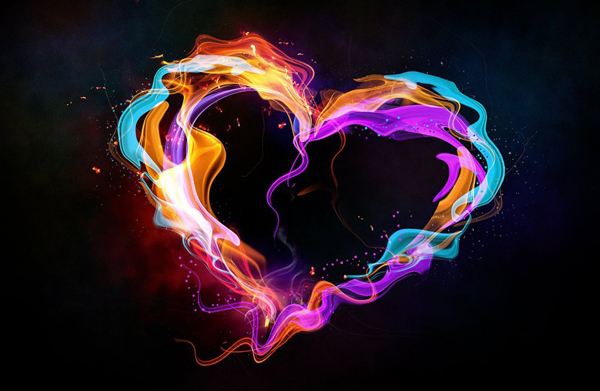 Create an abstract style colorful heart in Photoshop
