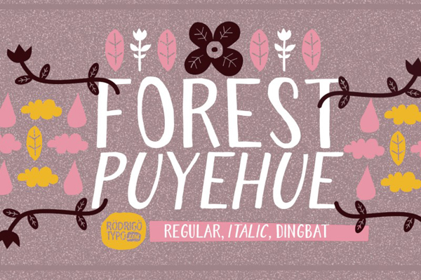 Forest Puyehue handmade font