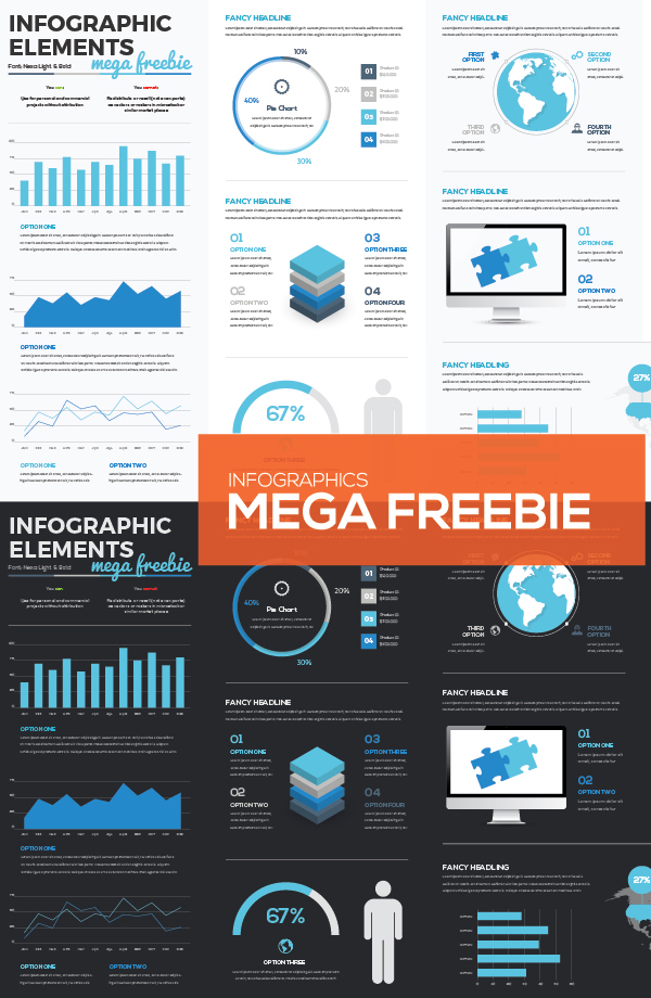 Mega Collection of Free Infographic Vector Elements