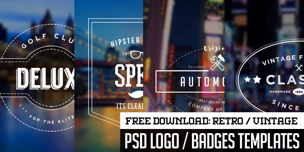 Free 5 Vintage Logo / Badges – PSD Vector Templates