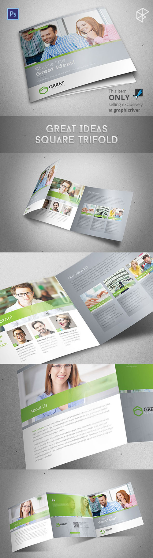 Square Trifold Brochure Design