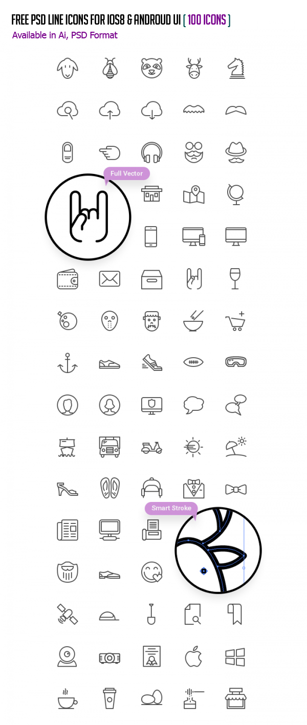 Free PSD Line Icons for iOS8 and Android UI - (100 Icons)