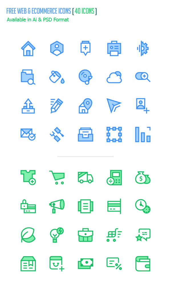 Free Web and eCommerce Icons (40 Icons Available in Ai & PSD)