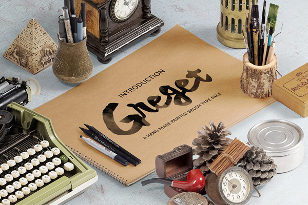 Greget Typeface is a hand made painted typeface with a customible style