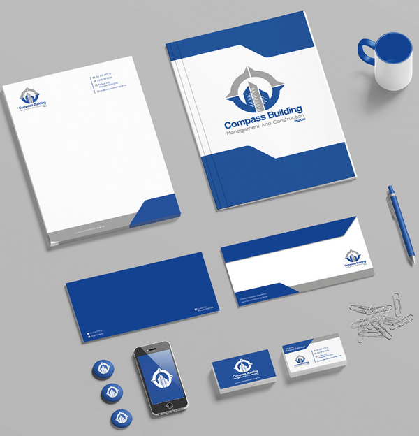 Compass Building Stationery Design