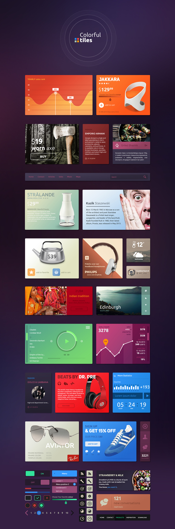 Tiles and Widgets UI Kit PSD