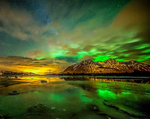 Green Aurora Above Sortland, Norway Landscape photography