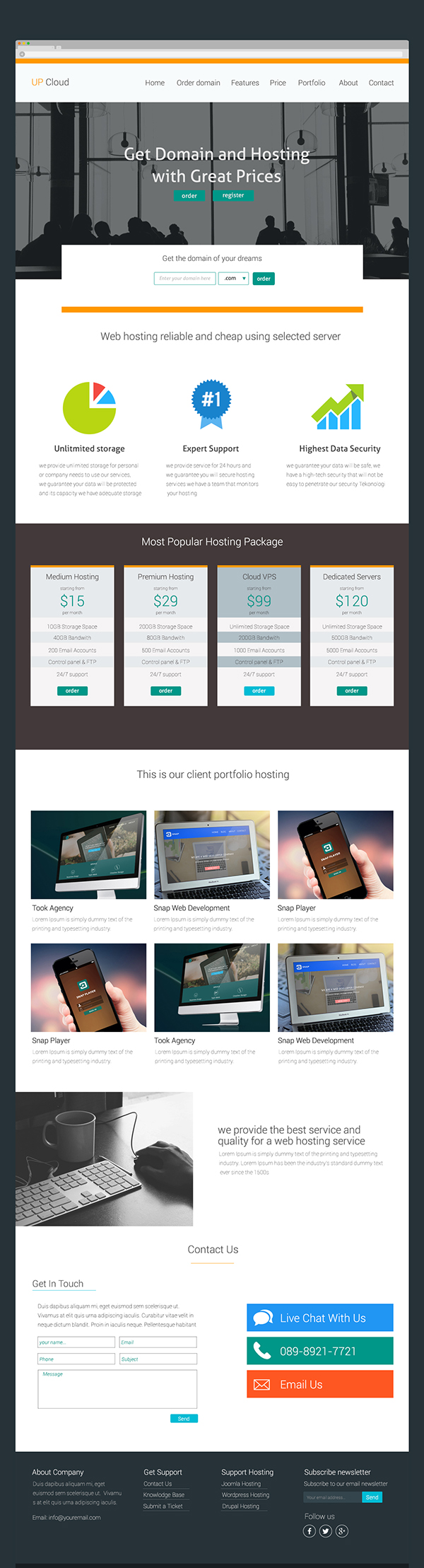 Free Hosting PSD Template Dark and Light Version