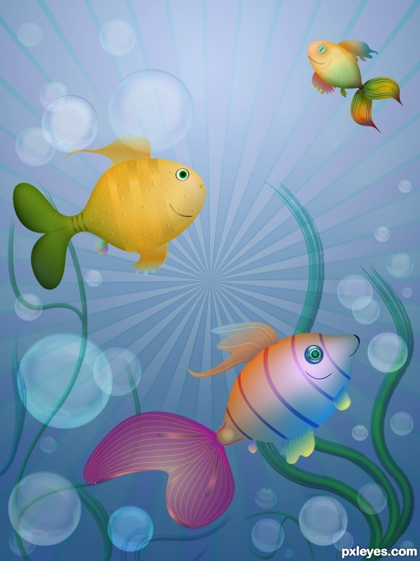 Create a Colorful Water World with Fish and Sea Weed