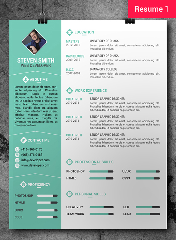 Free CV / Resume PSD Templates | Freebies | Graphic Design ...