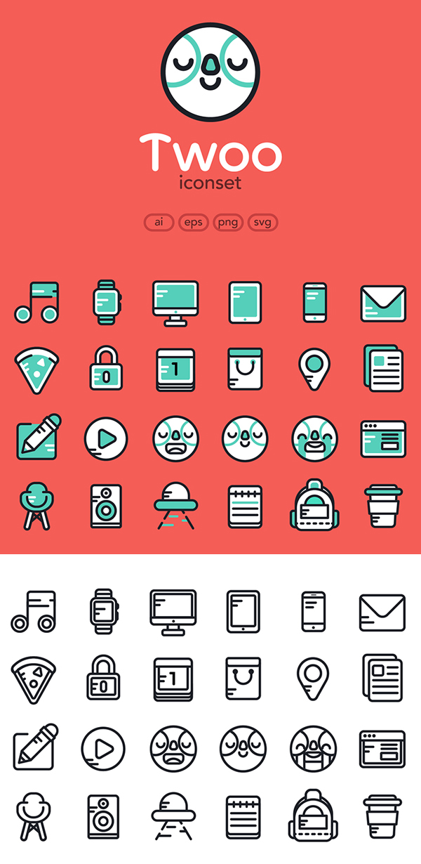 Free Flat Icons Set (AI, EPS, PNG and SVG) - 24 Color & Outline Icons