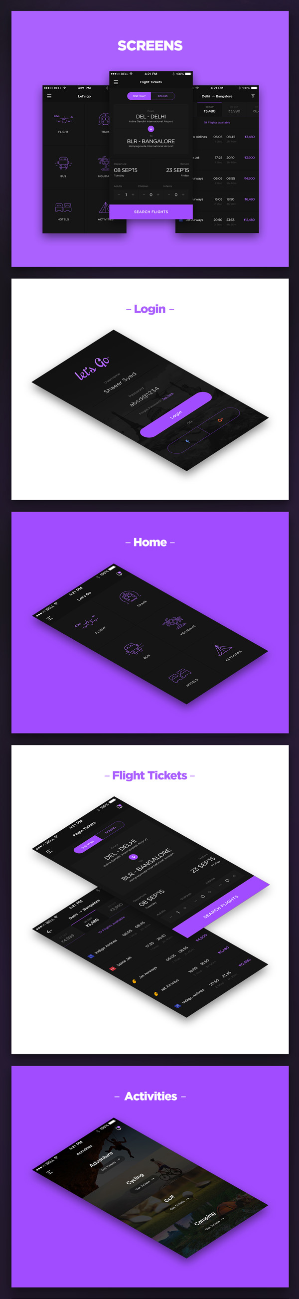 Travel App iOS Screens Free PSD Download