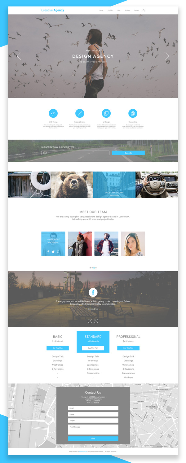 Free Creative Agency One Page PSD Template