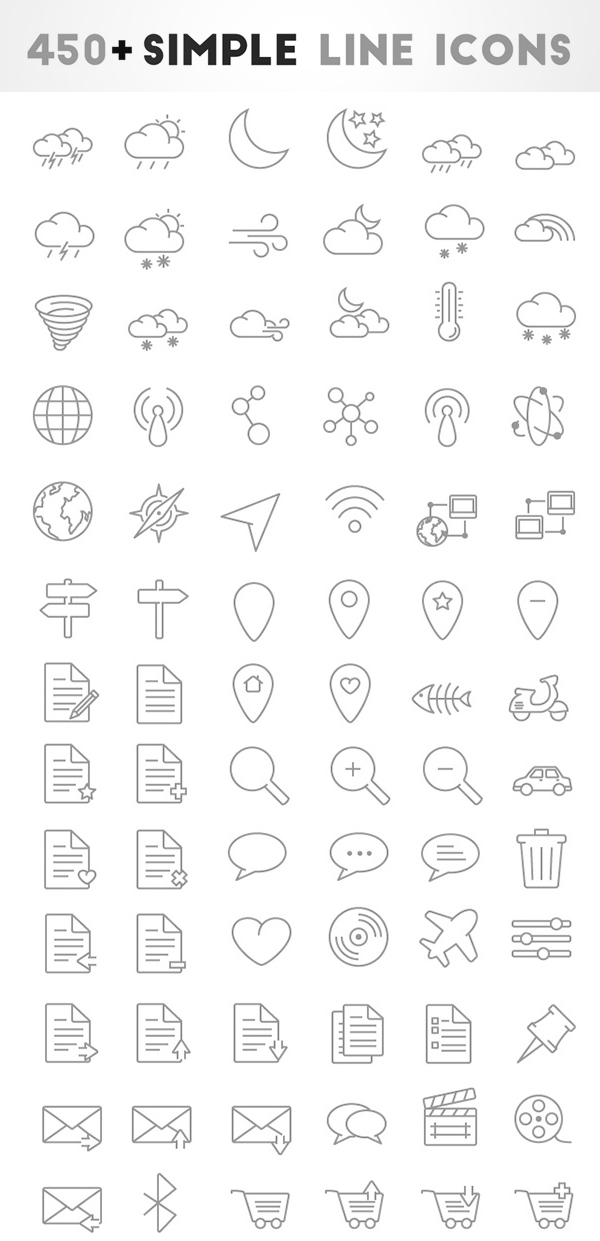 450+ Free Simple Oultine Icons by Nishanth kunder