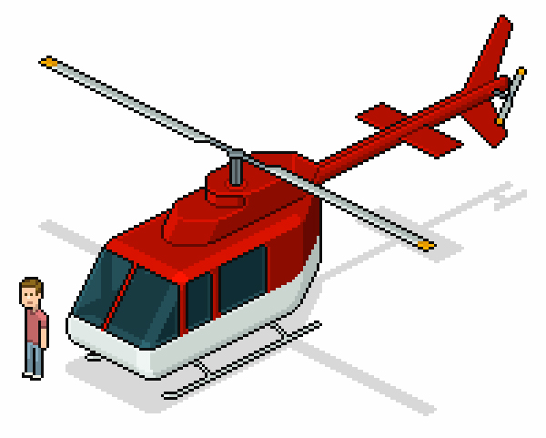 Free PSD Isometric Pixel Art Helicopter