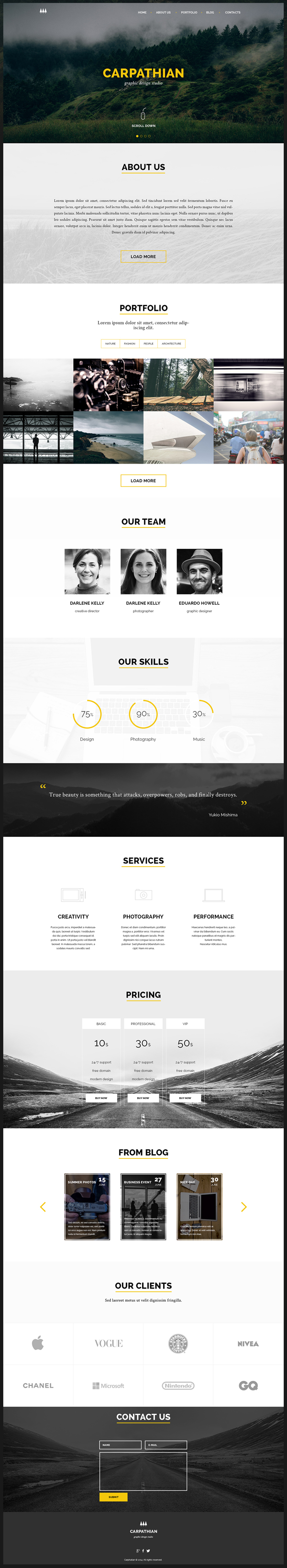 Free One Page PSD Template - Carpathian