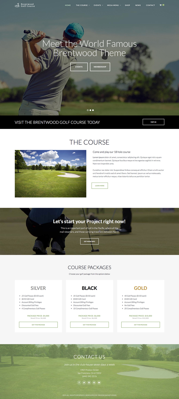Brentwood - Golf Course / Sports WordPress Theme
