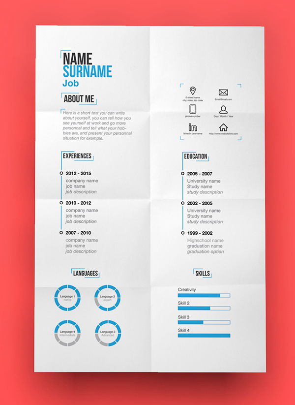 free modern resume template psd - Contemporary Resume Templates